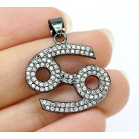 21mm Cancer Zodiac Sign Cubic Zirconia Pendant, Gunmetal