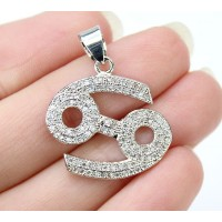 21mm Cancer Zodiac Sign Cubic Zirconia Pendant, Rhodium