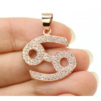 21mm Cancer Zodiac Sign Cubic Zirconia Pendant, Rose Gold Tone