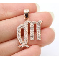 18mm Virgo Zodiac Sign Cubic Zirconia Pendant, Rose Gold Tone