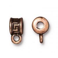 10mm Greek Key Spacer Bail by TierraCast, Antique Copper, 1 Piece