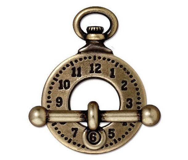 16mm Steampunk Clock Toggle Clasp Set by TierraCast, Antique Brass, 1 Set