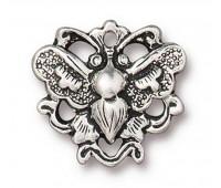 17mm Art Nouveau Butterfly Link by TierraCast, Antique Silver
