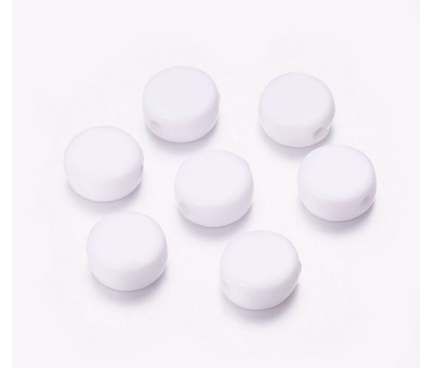 Blank Space White Acrylic Beads, 7x4mm Flat Round, Pack of 100