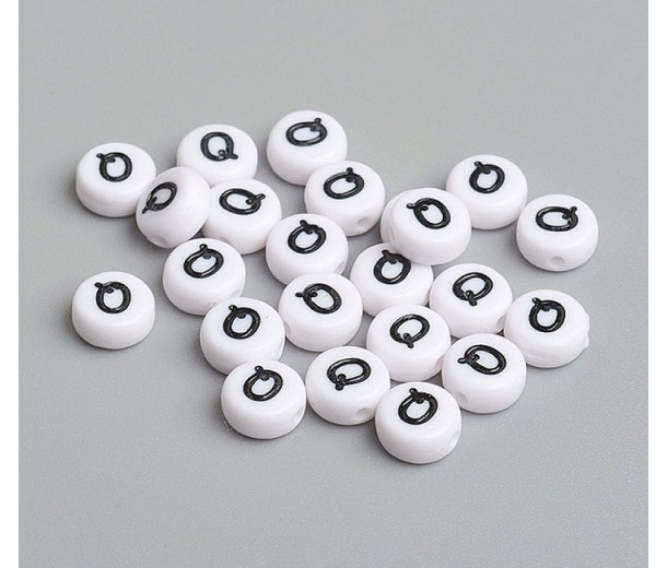 Letter Q White Acrylic Beads, 7x4mm Flat Round, Pack of 100