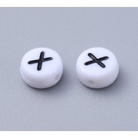 Letter X White Acrylic Beads, 7x4mm Flat Round, Pack of 100
