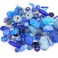 Acrylic Beads, Dark Blue Mix, Various Sizes and Shapes, 50 Gram Bag