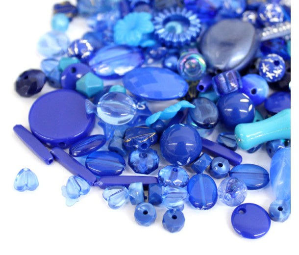 Acrylic Beads, Dark Blue Mix, Various Sizes and Shapes, 50 Gram Bag