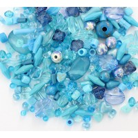 Acrylic Beads, Light Blue Mix, Various Sizes and Shapes, 50 Gram Bag