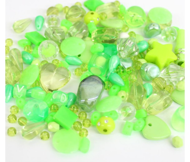 Acrylic Beads, Light Green Mix, Various Sizes and Shapes, 50 Gram Bag