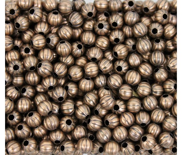 5mm Corrugated Round Beads, Antique Copper, Pack of 50