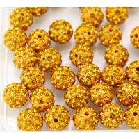 Topaz Yellow Rhinestone Pave Clay Beads, 8mm Round, Pack of 10