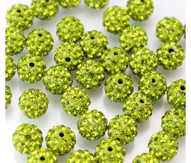 Olivine Green Rhinestone Pave Clay Beads, 8mm Round, Pack of 10