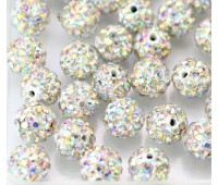 Crystal AB Rhinestone Pave Clay Beads, 8mm Round, Pack of 10