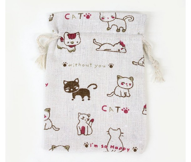 Cotton Drawstring Pouch, Cats Print on Beige, 5.5x4 inch