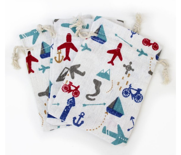 Polycotton Drawstring Pouch, Vacation Print on Beige, 5.5x4 inch