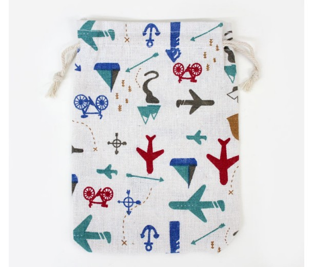 Polycotton Drawstring Pouch, Vacation Print on Beige, 7x5 inch