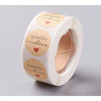 Spread the Love Stickers, Kraft Paper, 25mm Diameter, Roll of 500 Pcs