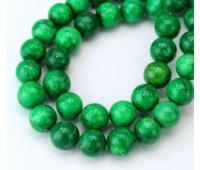 Magnesite Beads, Dark Green, 10mm Round