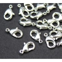 12x7mm Lobster Clasps, Silver Plated, Pack of 20