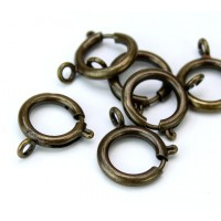 15mm Spring Ring Clasps, Antique Brass, Pack of 10