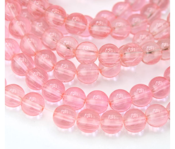 Glass Beads, Rose Pink, 8mm Smooth Round