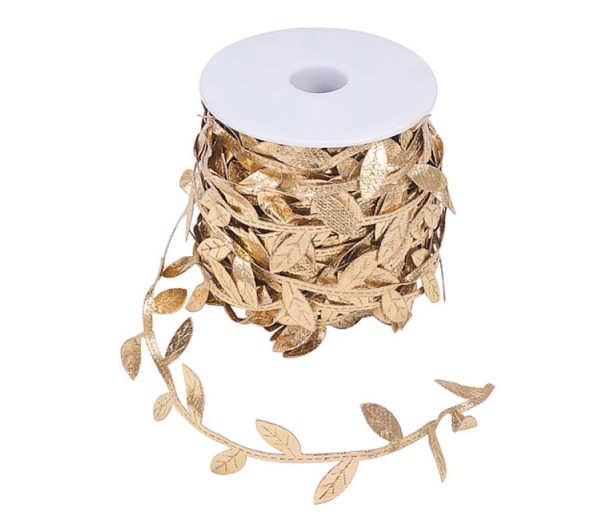 Decorative Golden Leaf Cord, Sold by 25 Yard Roll