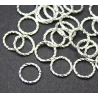 10mm 16 Gauge Twisted Jump Rings, Silver Plated, Pack of 50