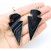 50mm Agate Arrowhead Pendant, Black