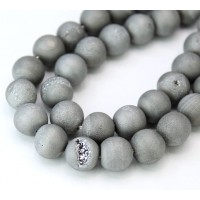 Druzy Agate Beads, Platinum Grey, 10mm Round