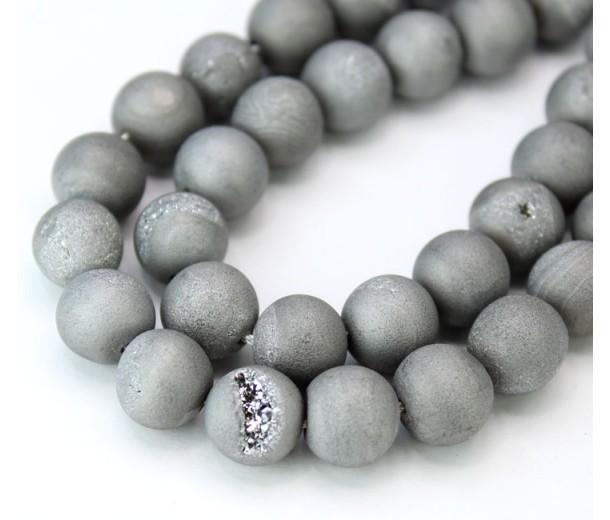 Druzy Agate Beads, Platinum Grey, 10mm Round