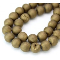 Druzy Agate Beads, Antique Gold, 10mm Round