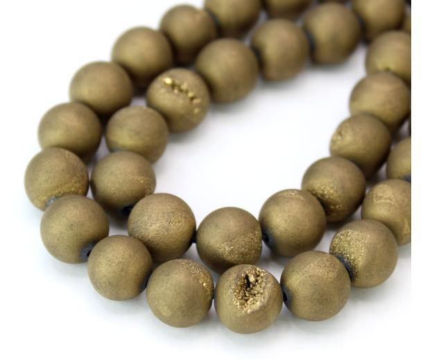Druzy Agate Beads, Antique Gold, 10mm Round