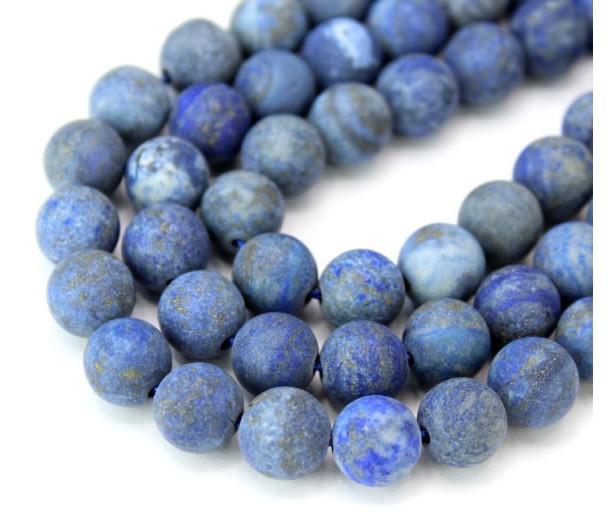 Matte Lapis Lazuli Beads, 9mm Round