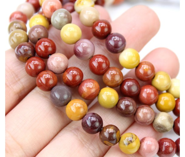 Mookaite Beads, Natural Multicolor, 6mm Round