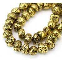 Lava Rock Metalized Beads, Antique Gold, Medium Nugget
