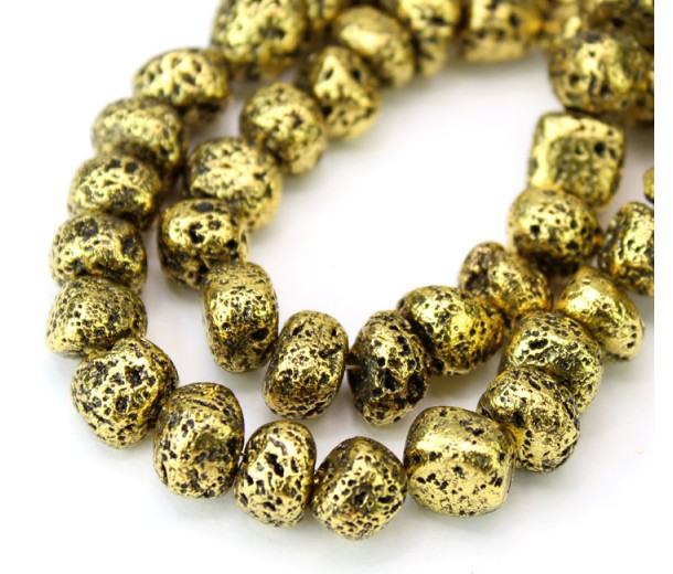 Lava Rock Metalized Beads, Antique Gold, Medium Nugget