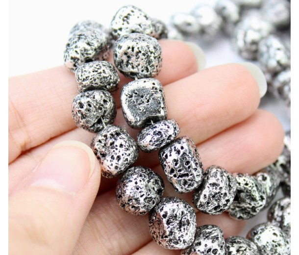 Lava Rock Metalized Beads, Antique Silver, Medium Nugget