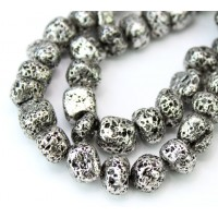 Lava Rock Metalized Beads, Antique Silver, Medium Nugget