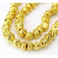 Lava Rock Metalized Beads, Bright Gold, Medium Nugget