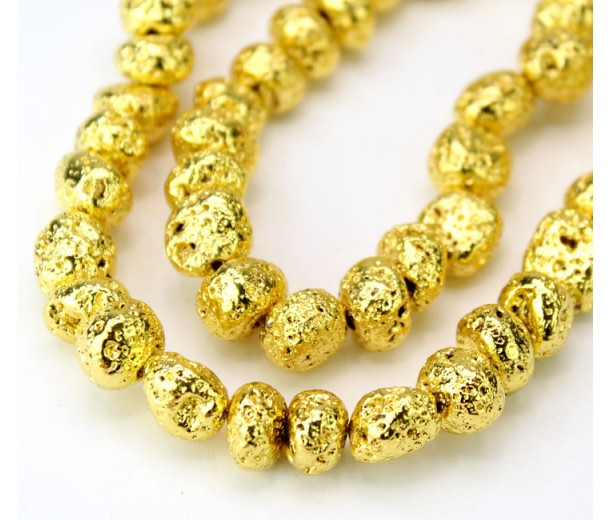 Lava Rock Metalized Beads, Bright Gold, Medium Nugget