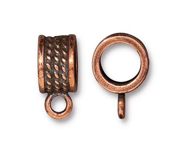 16mm Rope Design Large Hole Bail by TierraCast, Antique Copper