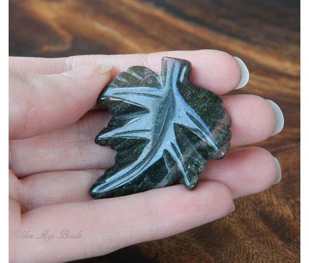 Carved Leaf Pendant, Indian Agate, 40mm