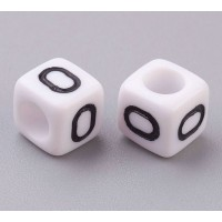 Letter O White Acrylic Beads, 6mm Cube, Pack of 50