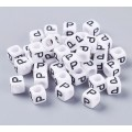 Letter P White Acrylic Beads, 6mm Cube, Pack of 50