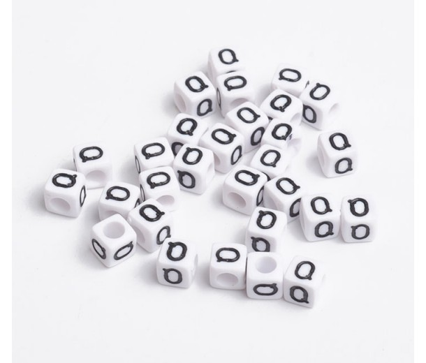 Letter Q White Acrylic Beads, 6mm Cube, Pack of 50