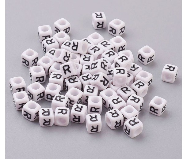 Letter R White Acrylic Beads, 6mm Cube, Pack of 50