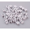 Letter S White Acrylic Beads, 6mm Cube, Pack of 50
