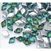 8x5mm Matubo GemDuo 2-Hole Seed Beads, Backlit Rainforest, 10 Gram Bag