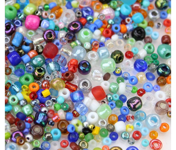 Craft Seed Bead Mix N2, Various Sizes and Colors, 50 Gram Bag